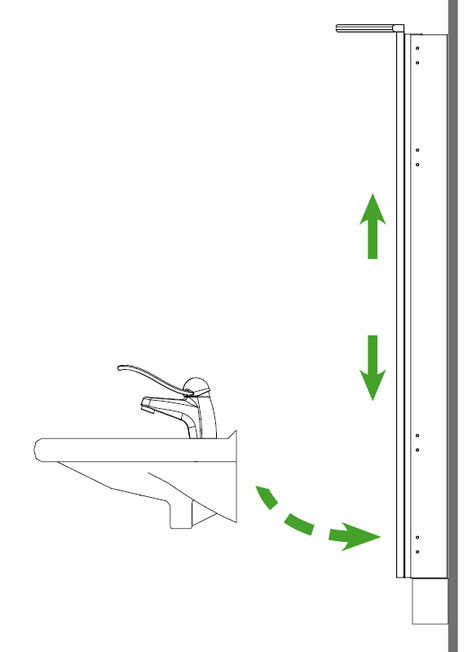 waschtischlift motorisch verstellbar t11 5 cm m spiegel beleuchtet m taster m klemmschutz. Black Bedroom Furniture Sets. Home Design Ideas