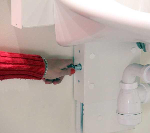 waschtischkonsole manuell verstellbar mit gasfeder. Black Bedroom Furniture Sets. Home Design Ideas