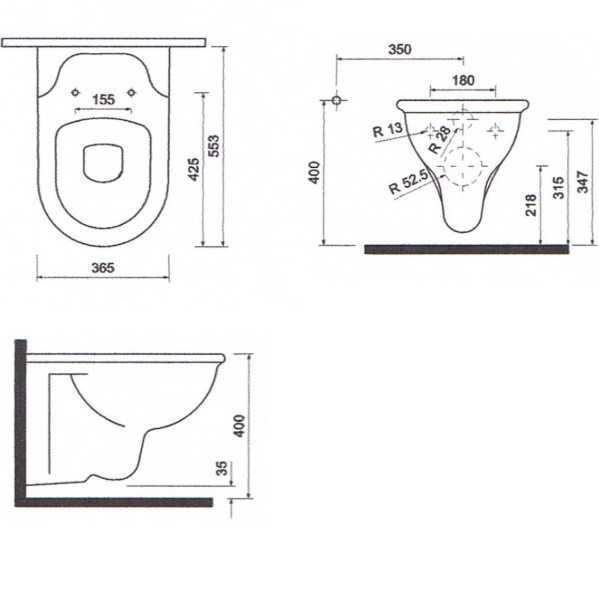 Toilette maße  Temtasi Solina Taluna Dusch WC und Bidet in einem