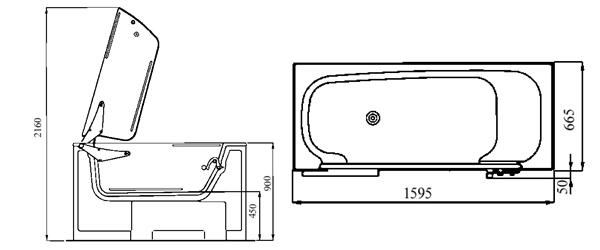 Relativ Wanne mit Tuer Modell Calibur 107 1595x665mm Farbe weiss UI36